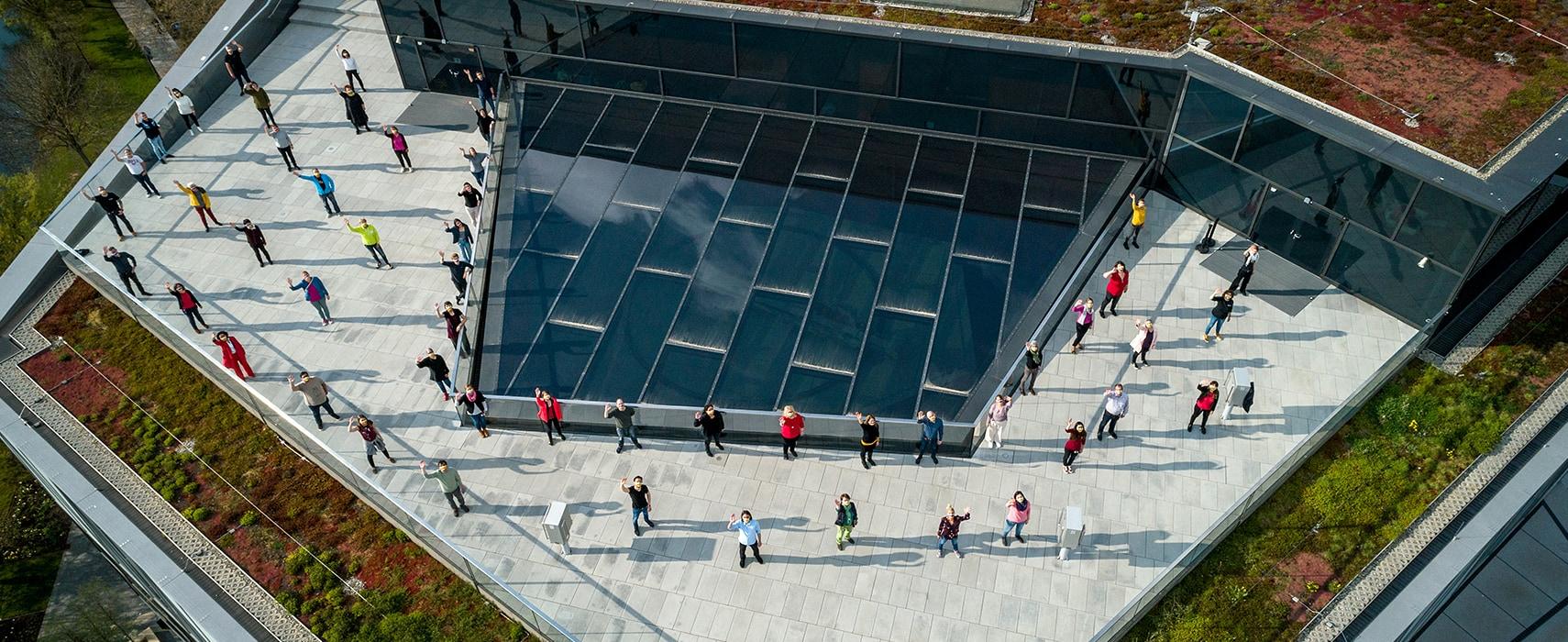 Mitarbeiter auf dem Dach der experimenta